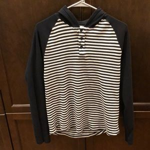 Hurley Striped Cotton Waffle Hoodie - Large